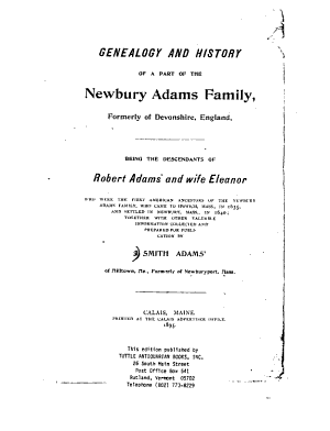 Genealogy and History of a Part of the Newbury Adams Family  Formerly of Devonshire  England PDF