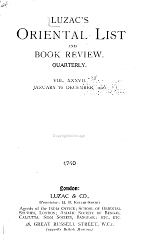 Luzac s Oriental List and Book Review PDF
