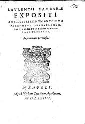 Expositi ad illustriss. Antonium Perenotum Granvelanum, Card