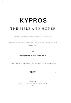 Kypros  the Bible and Homer