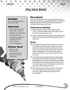 Writing Lesson Level K  My Idea Bank PDF