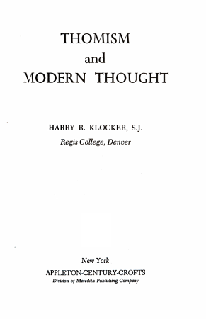 Thomism and Modern Thought PDF