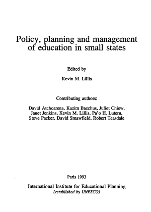 Policy  Planning and Management of Education in Small States PDF