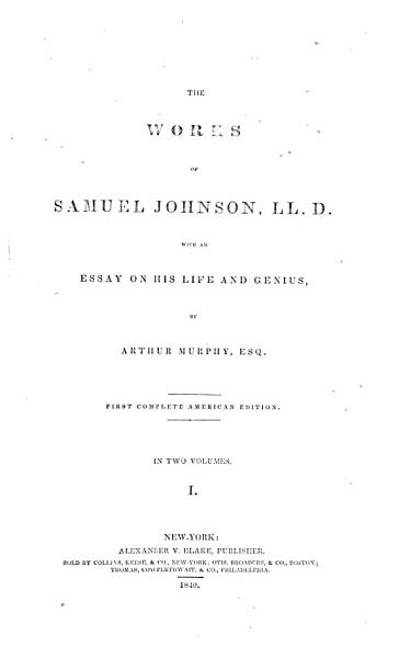 Download An essay on the life and genius of Samuel Johnson Book