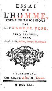 Essai sur l'homme: poëme philosophique