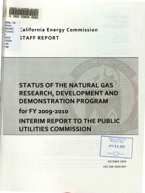 Status of the Natural Gas Research  Development and Demonstration Program for FY 2009 2010   Interim Report to the Public Utilities Commission PDF