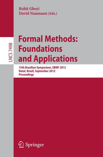 Formal Methods  Foundations and Applications PDF