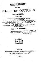 Aperçu historique sur les mœurs et coutumes des nations
