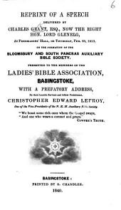 Reprint of a speech delivered by C. G. ... on the formation of the Bloomsbury and South Pancras Auxiliary Bible Society ... With a prefatory address by ... C. E. Lefroy. MS. notes