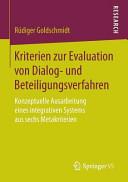Kriterien zur Evaluation von Dialog  und Beteiligungsverfahren PDF