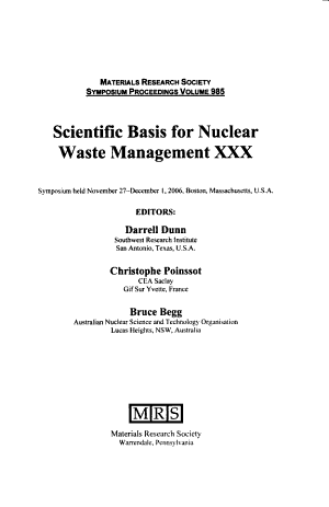 Scientific Basis for Nuclear Waste Management XXX  Volume 985 PDF