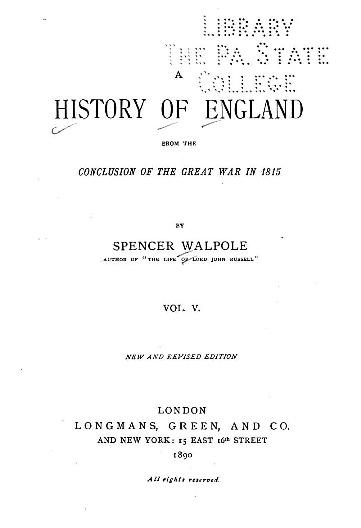 A History of England from the Conclusion of the Great War in 1815