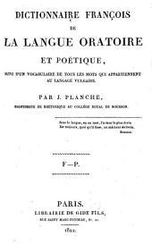Dictionnaire françois de la langue oratoire et poétique: Volume2