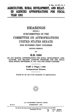 Agriculture rural development  and related agencies appropriations for fiscal year 1991 PDF