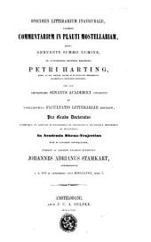 Specimen litterarium inaugurale, exhibens commentarium in Plauti Mostellariam