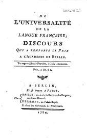 De l'universalité de la langue française, discours qui a remporté le prix à l'Académie de Berlin
