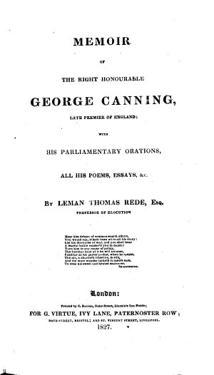 Memoir of the Right Honourable George Canning