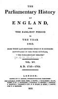 Cobbett s Parliamentary History of England PDF
