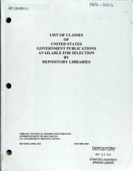 List of Classes of United States Government Publications Available for Selection by Depository Libraries PDF
