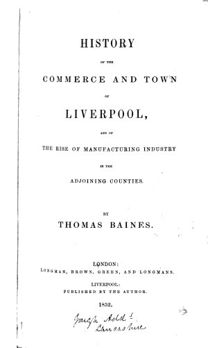 History of the Commerce and Town of Liverpool