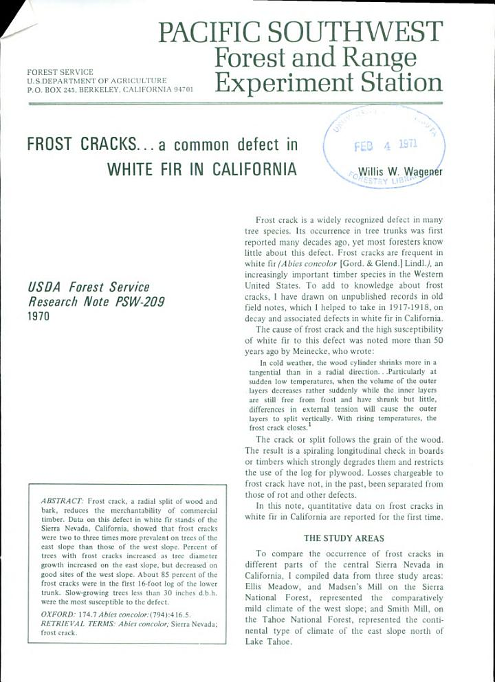 Frost Cracks-- a Common Defect in White Fir in California