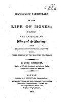 Remarkable Particulars in the Life of Moses  etc PDF