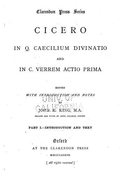 In Q  Caecilium Divinatio and In C  Verrem Actio Prima PDF
