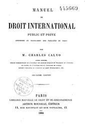 Manuel de droit international public et privé