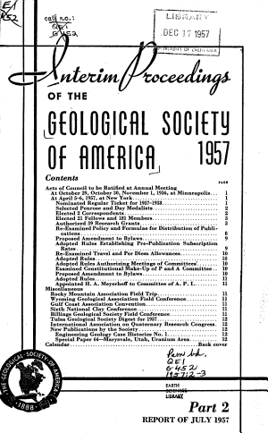 Interim Proceedings of the Geological Society of America for     PDF