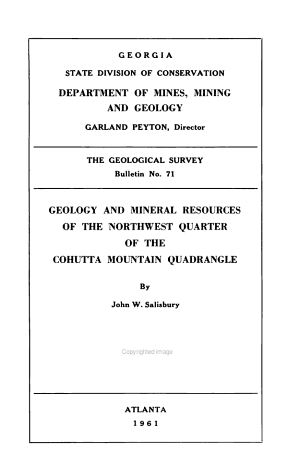 Geology and Mineral Resources of the Northwest Quarter of the Cohutta Mountin Quadrangle