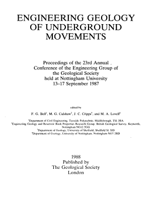 Engineering Geology of Underground Movements PDF