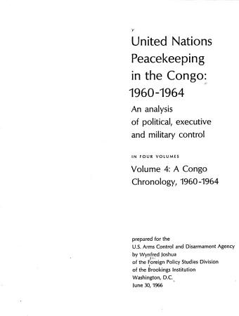United Nations Peacekeeping in the Congo  1960 1964  A Congo chronology  1960 1964 PDF