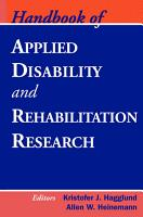 Handbook of Applied Disability and Rehabilitation Research PDF
