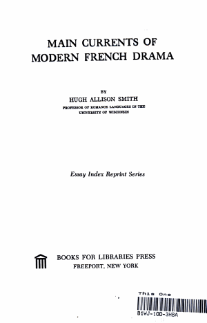 Main Currents of Modern French Drama PDF