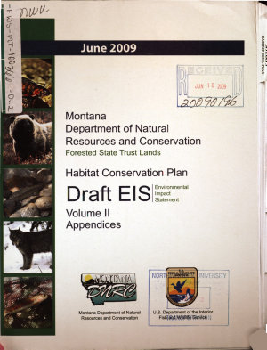 Montana Department of Natural Resources and Conservation  Forested State Trust Lands  Habitat Conservation Plan PDF