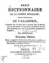 Petit dictionnaire de la langue française, suivant l'orthographe de l'Académie