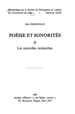 Po  sie et sonorit  s  Les nouvelles recherches PDF
