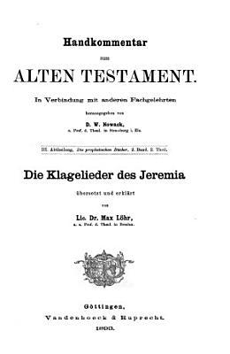 Die Klagelieder das Jeremia PDF
