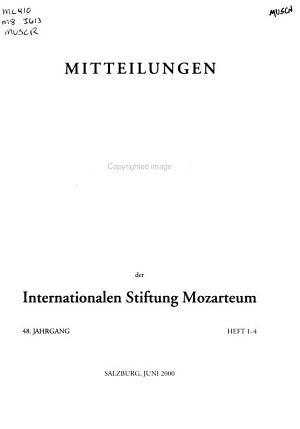 Mitteilungen der Internationalen Stiftung Mozarteum PDF