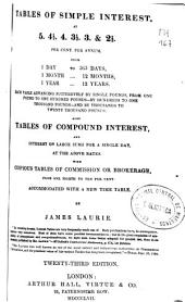 Tables of Simple Interest at 5, 4'5, 4, 3'5 & 2'5 Per Cent. Per Annum...: Tables of Compound Interest and Interest on Large Sums for a Single Day, at the Above Rates...