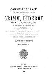 Correspondance littéraire: Volume5
