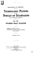 Technologic Papers of the Bureau of Standards: Volumes 181-190