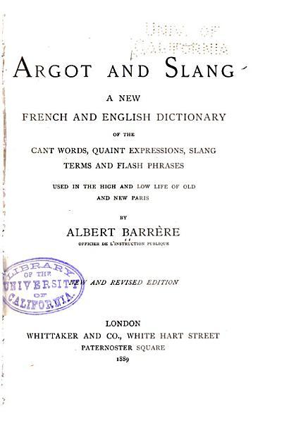 Download Argot and Slang Book