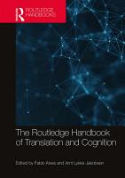 The Routledge Handbook of Translation and Cognition PDF