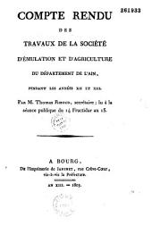 Compte-rendu des travaux de la Société d'émulation et d'agriculture du département de l'Ain pendant les ans XII et XIII par Thomas Riboud