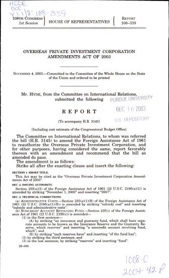 Overseas Private Investment Corporation Amendments Act of 2003 PDF