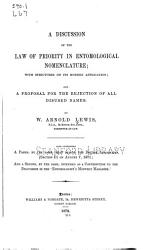 A Discussion of the Law of Priority in Entomological Nomenclature PDF