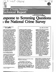 Response To Screening Questions In The National Crime Survey Book PDF
