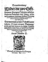 Verantwortung Wider die zwo Gifftspinnen, Georgen Scherern, un[d] Christophorum Rosenbusch, beide Jesuiter ...