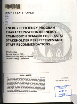 Energy Efficiency Program Characterization in Energy Commission Demand Forecasts   Stakeholder Perspectives and Staff Recommendations PDF